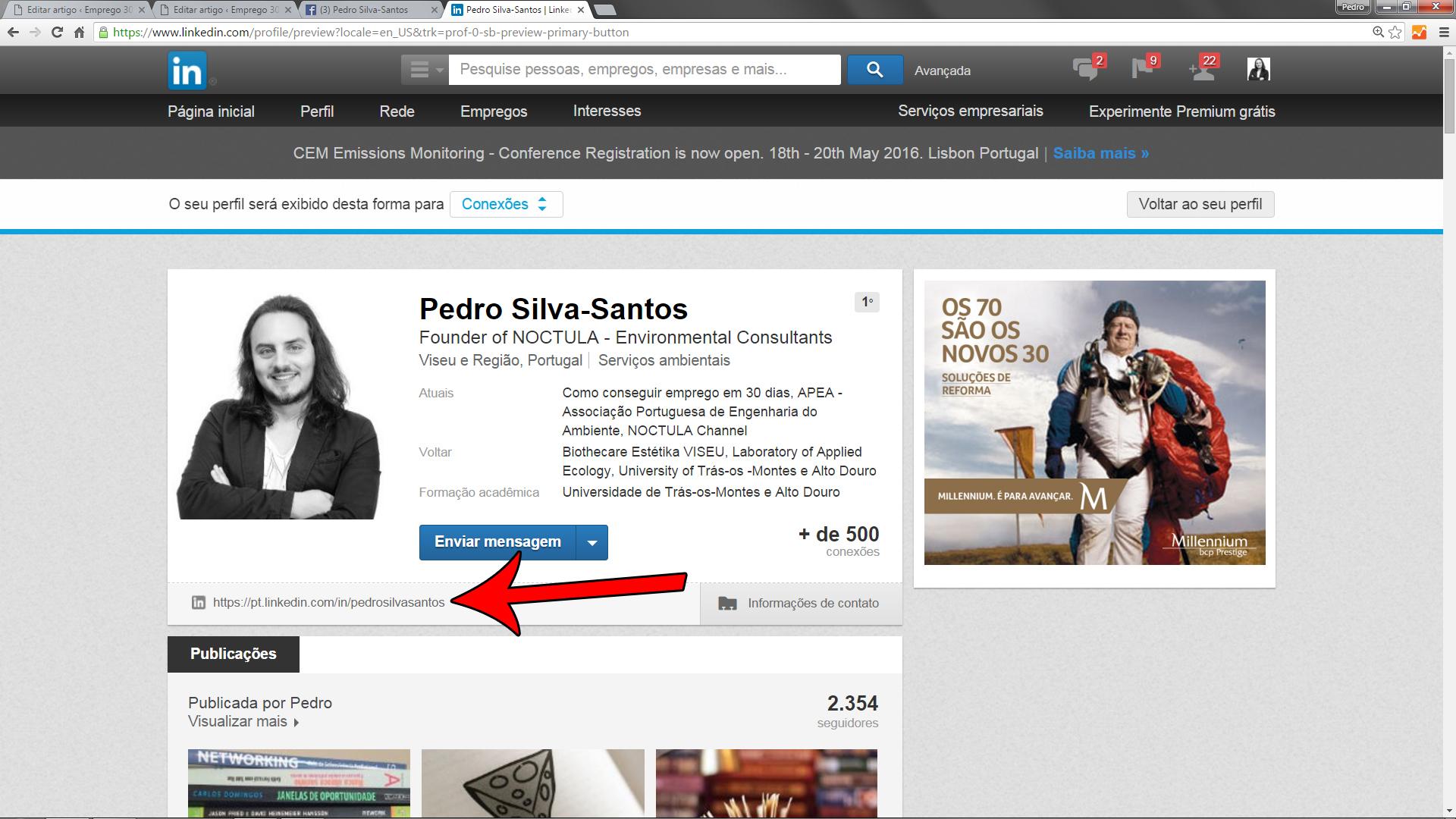 URL bem configurado no LinkedIn