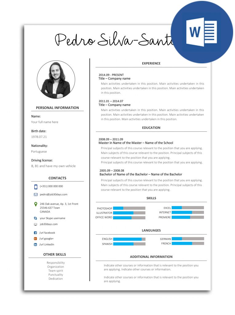 resume model in word
