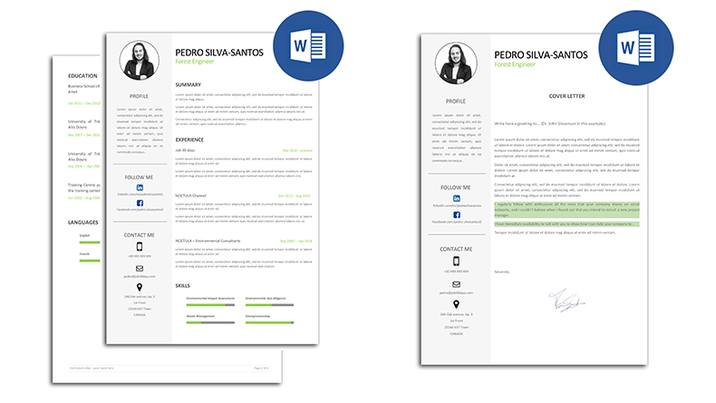 The best CV models fully editable in Word