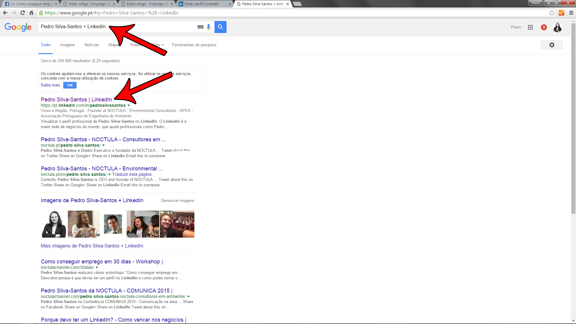 procurar perfis LinkedIn no Google