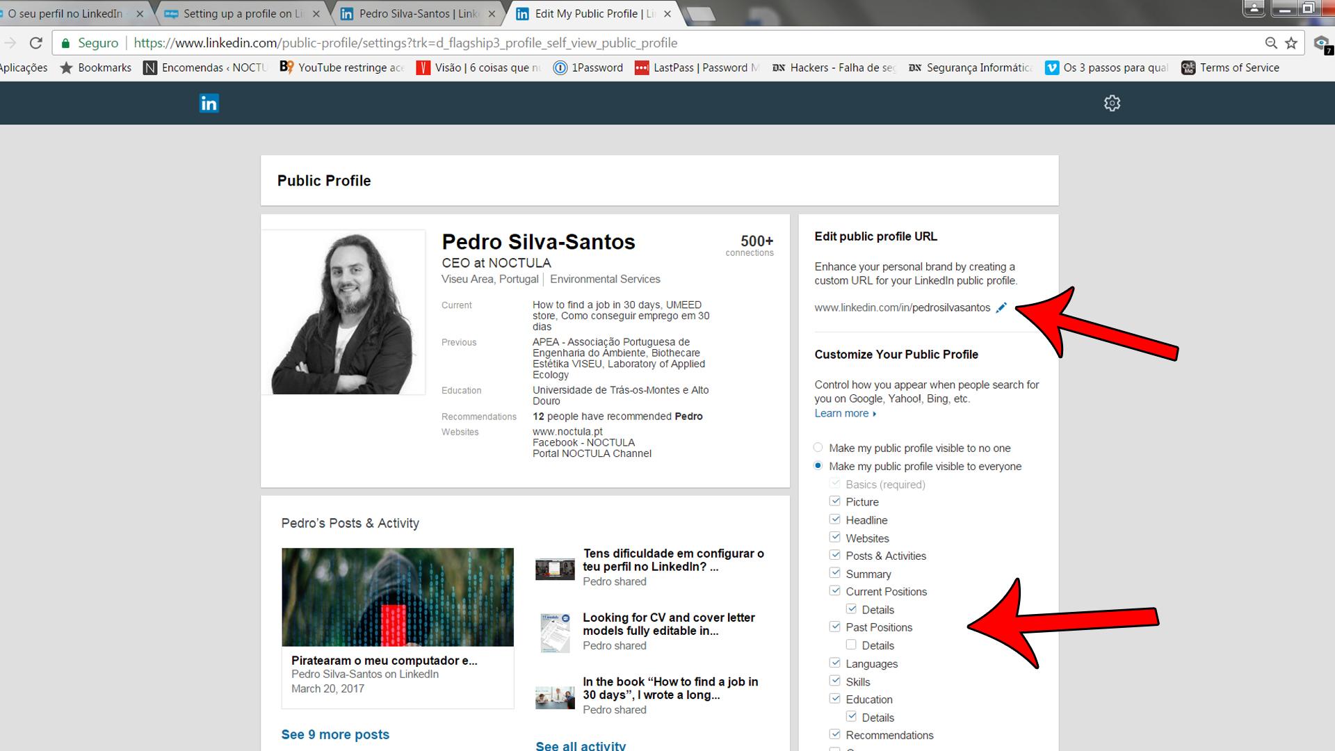 Setting up a profile on LinkedIn